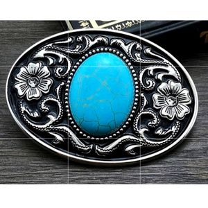 Western style Turquoise color floral belt buckle